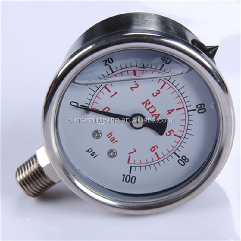 Durable Light Weight Easy To Read Clear 40mm plastic case water pump pressure gauges