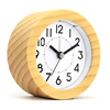 ROHS certified solid wood made custom shape logo silent small wooden alarm clock