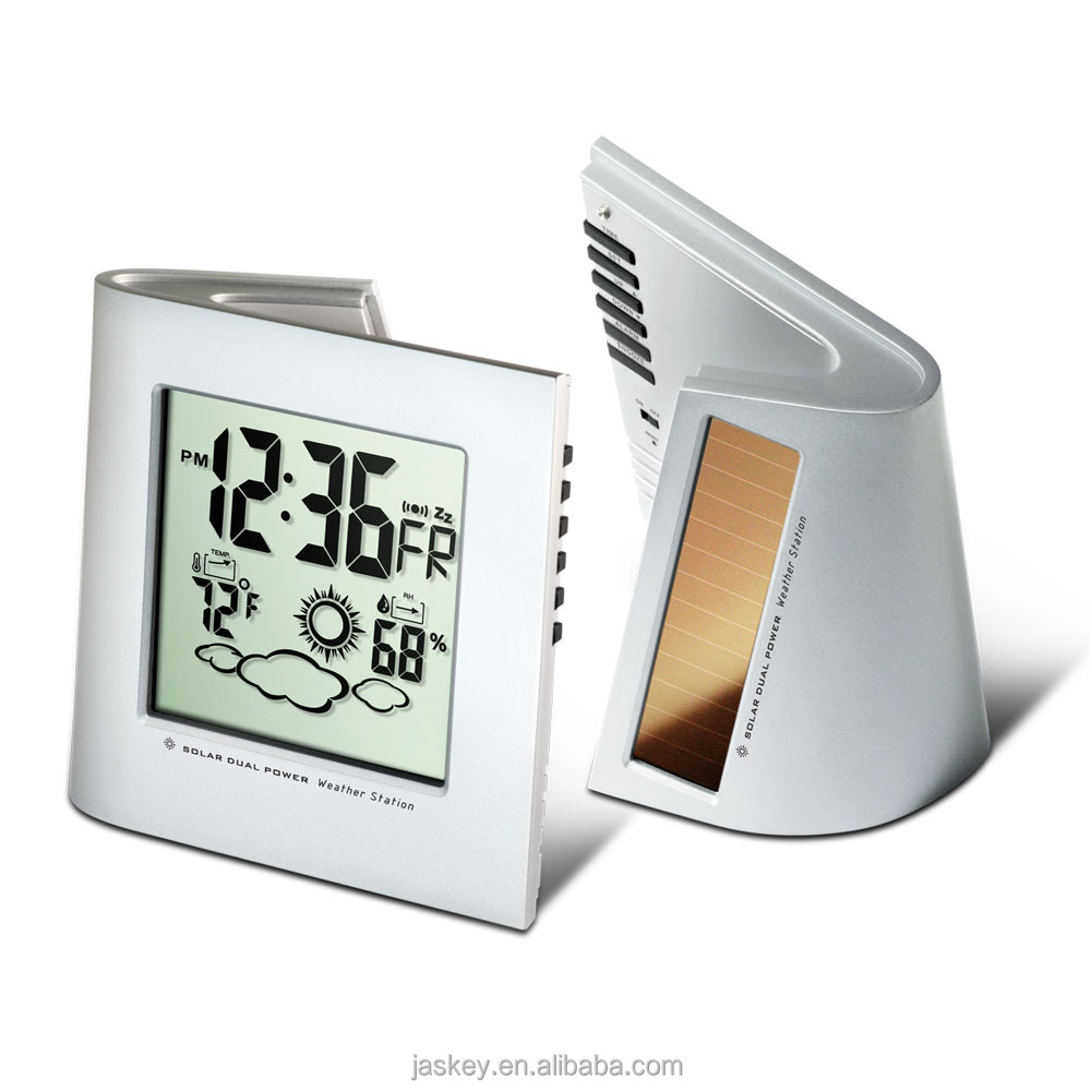 Solar Dual Powered Weather Station Digital Desk Clock with Large digits