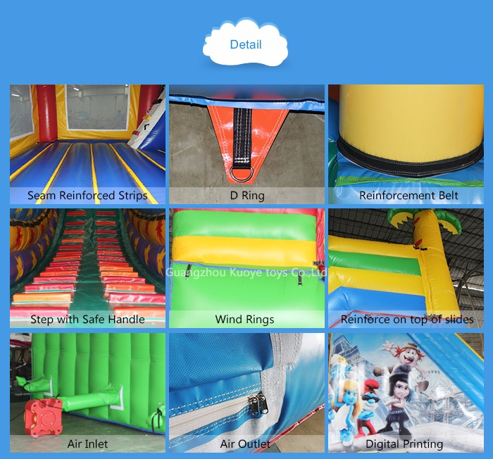2016 guangzhou newest inflatable smurf slide with printing