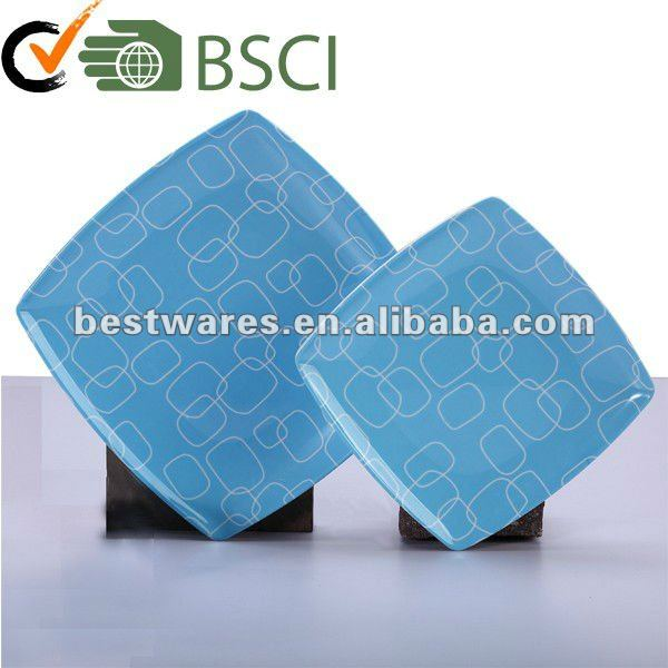 China supplier heat resistant blue square melamine dinner plate sets