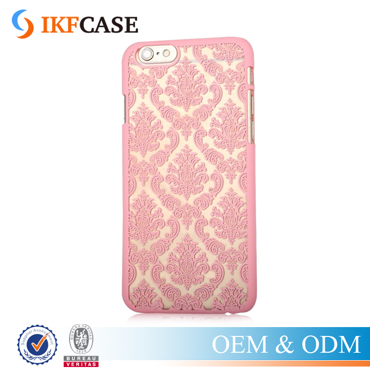 Hollow Vintage Flower Case For Apple Iphone 6 Phone Pattern Painting PC Cases Back Protective