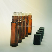 10ml Amber essential oil glass bottle with stainless steel roll on