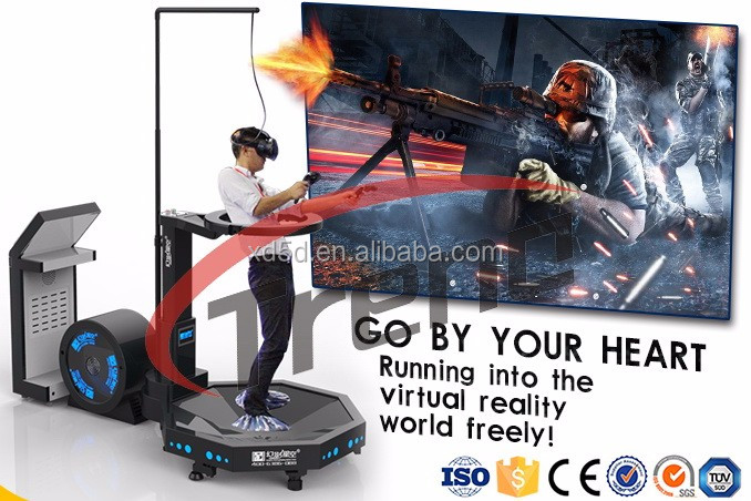360 degrees rotation 9D vr battle virtual reality treadmill with shotting game