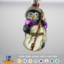 New-coming Christmas tree penguin shaped glass ornaments