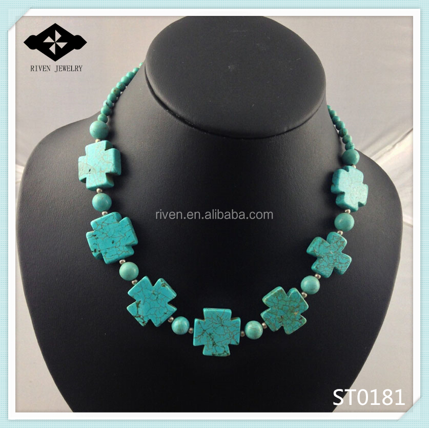 ST0181 Newest Beadwork Natural Turquoise Cross Necklace Women Statement necklaces.jpg