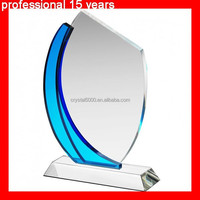 Wholesale crystal glass trophy Clear & Blue Plaque