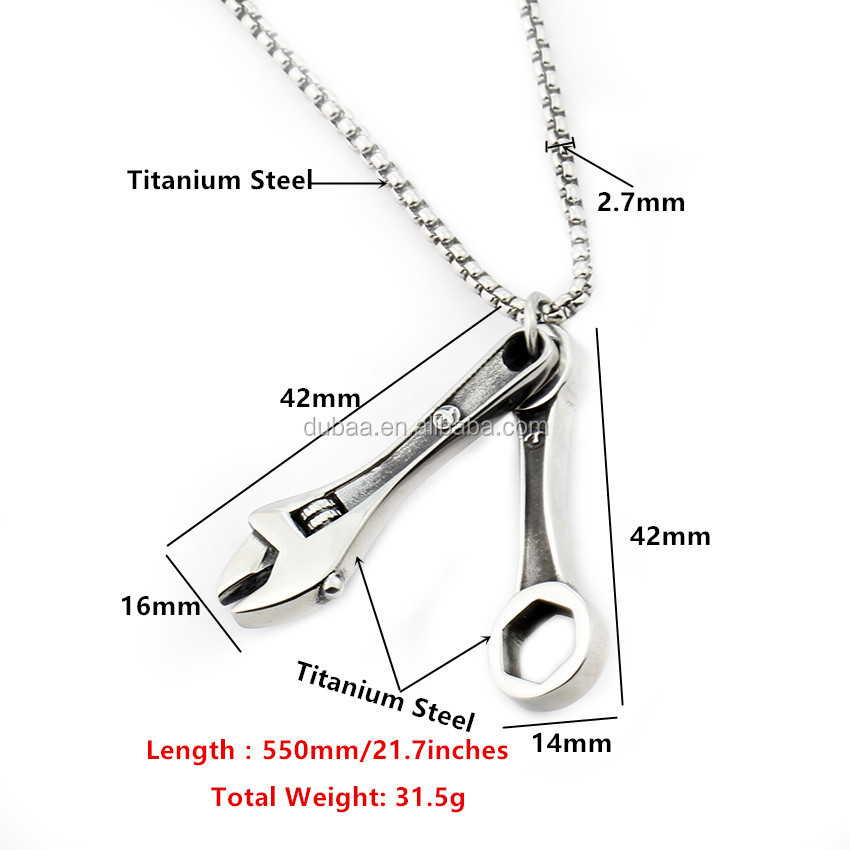 "Men's Silver Biker Spanner Mechanic 316L Stainless Steel Wrench Tool Pendant Necklace, 22"" Link Chain"