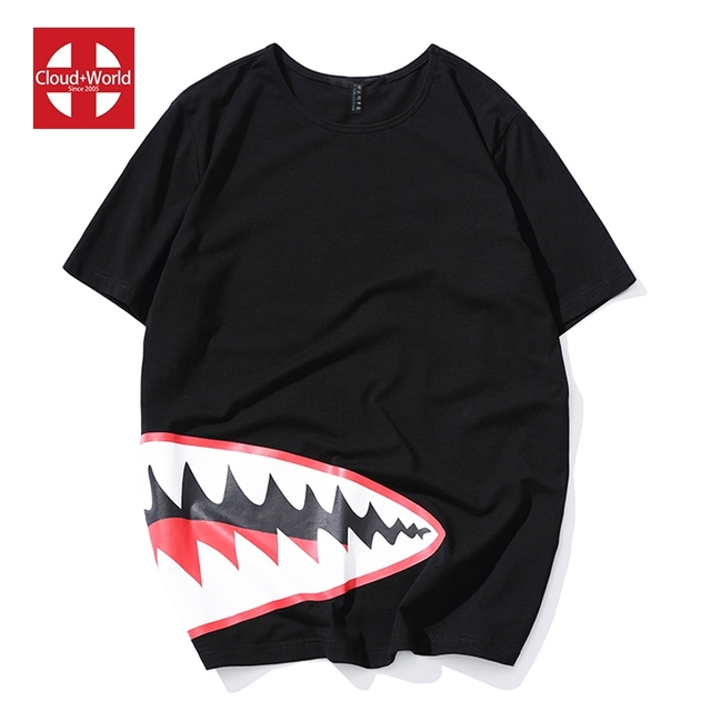 Direct selling big mouth pattern black round neck easy cotton t shirt