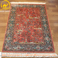 2.5X4ft silk mat handmade miniature oriental carpet hand knitted