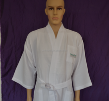 Factory wholesale cotton CVC TC 40% cotton 60%polyester mixed Breathable Waffle unisex bathrobe