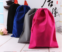 20*30cm Custom printed big size velvet drawstring pouch fabric gift bags wholesale