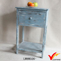 antique blue solid wood corner table top with a shelf