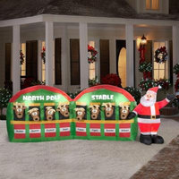 Christmas Inflatable Santa w/ Reindeer in North Pole Stable