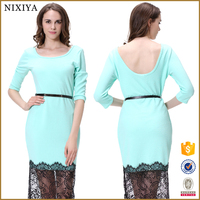 Guangzhou Women Clothes Factory Wholesale Long SLeeve Dress Lace Dress