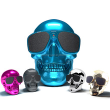 2017 New Products skull shape sunglasses Wireless Bluetooth Speaker With TF card USB port and FM radio function Bluetooth