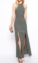 Sexy Split Maxi Dress with High Neck and Thigh Splits for 2015 party apparel