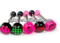Smile face piercing tongue ring body jewelry