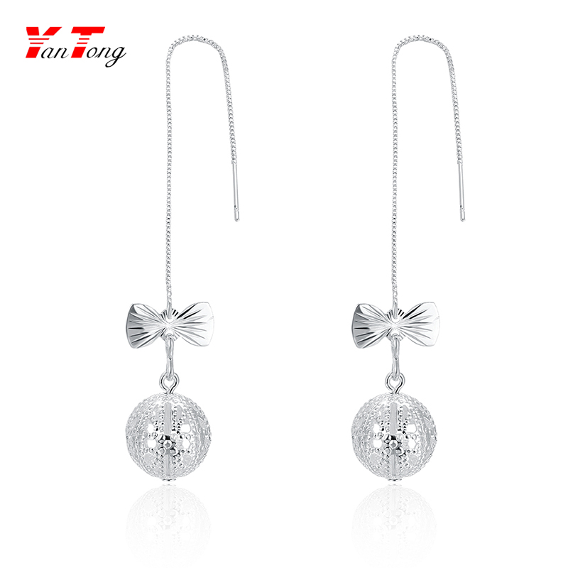 Women's Bead Pendant Fashion Jewellery Silver Plated Dangling Bowknot Ball Drop Earrings