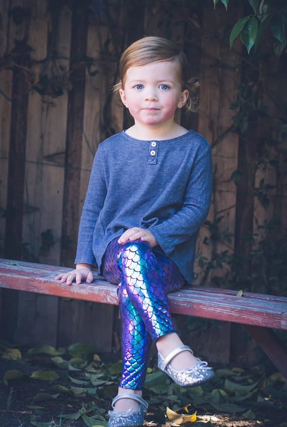 Mermaid children's pants baby full length legging kids icing bling pants