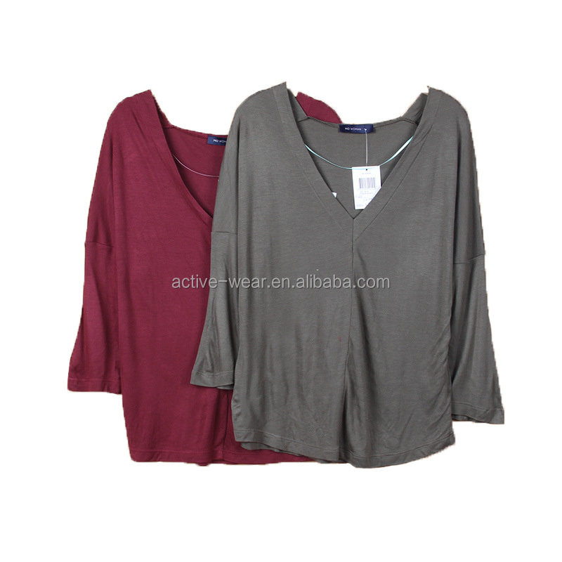 Garments Buyer For Stock Lot Ladies Relax T-shirt V Neck Long Sleeve