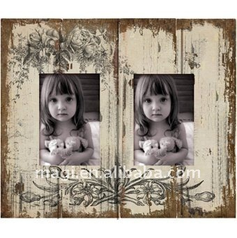 "Hold two 4x6"" photos Antique Wooden Photo Frame"