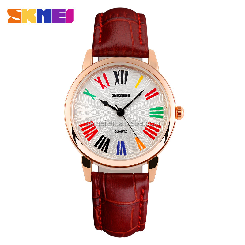 China fashion watch for ladies 2016 red leather strap watches cheap stainless steel buckle watch