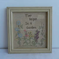 Primitive vintage distressed style wall hanging stitchery frame, Time began in a garden