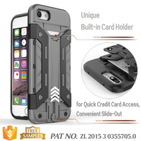 Multi-function fold-out stand credit card holder free sample phone case for iphone 7