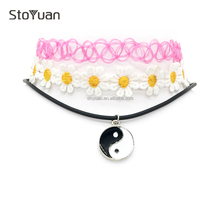 High Quality White Flower Enamel Yinyang Plated Silver Pink Chain 3 Piece/Set Tattoo Choker Necklace Set