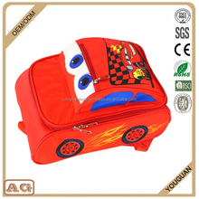 2016 new design made in China cute lovely children 3D red racing speed car kids school bag for boys