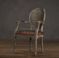 Antique French reclaimed wood brown dining chair