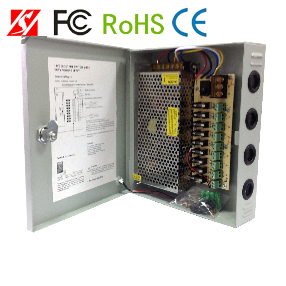 120W 9CH cctv power supply box 220V AC / DC 12V 10A power supply