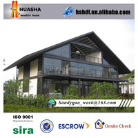 Modern luxury double slope light steel cement prefab houses