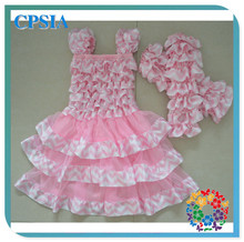 Pink Chevron and Pink Chiffon 2014 Baby Frock Designs Princess Flower Girl Dress Summer Dress With Mtaching Leg Warmer Set