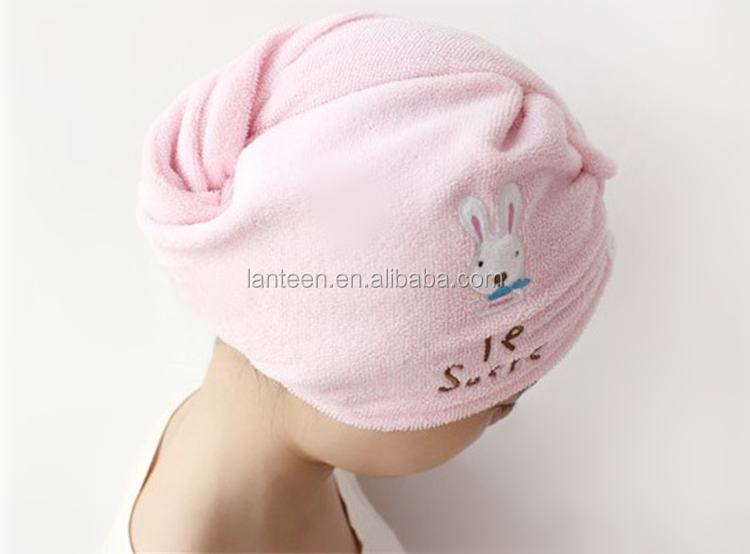 China wholesales microfiber rabbit design embroidery silk logo hair dry towel cap