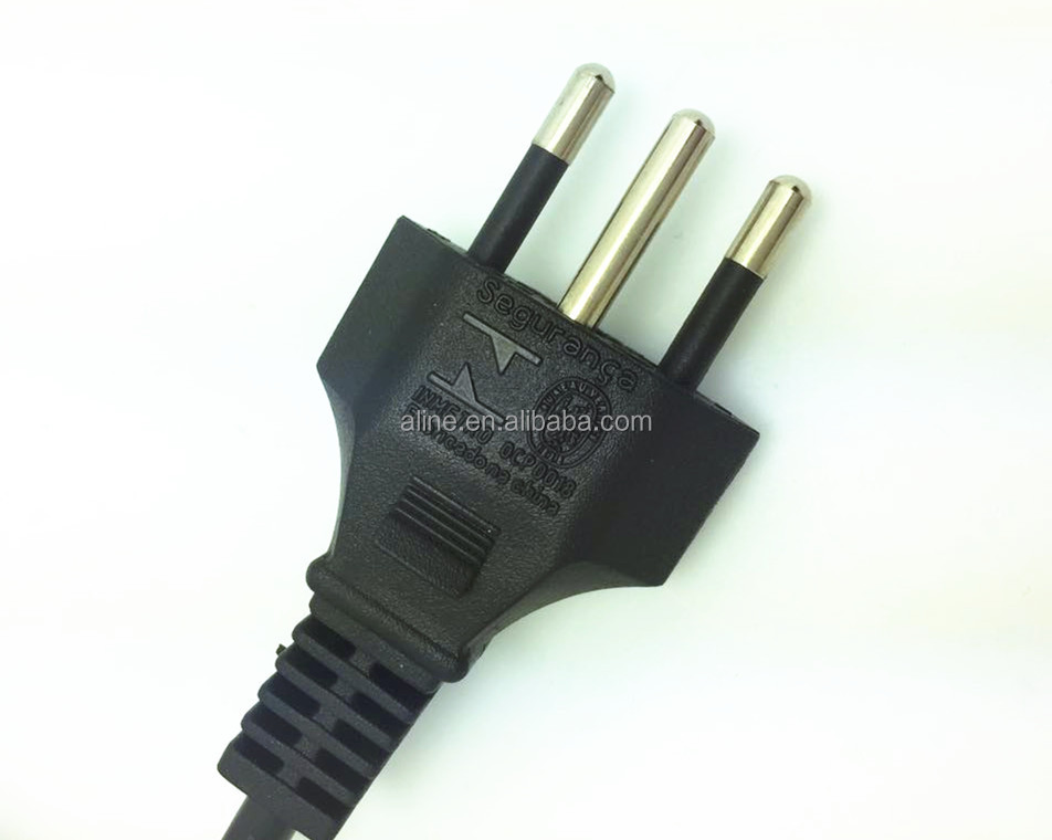 3-Pin Plug, Brasil Home Appliance Power Supply Cords
