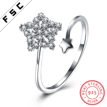 925 Sterling Silver Star Shaped White Gold Plated Wedding Engagement Rings