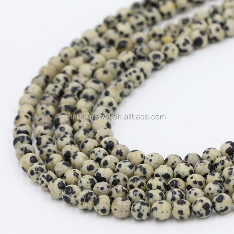 Trade Assurance order fashion jewelry making material 8mm natural loose dalmatian jasper gem stone beads for jewelry making