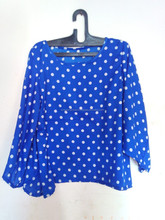2014 Latest Style Beautiful Ladies Top in Blue-White Polka dot print