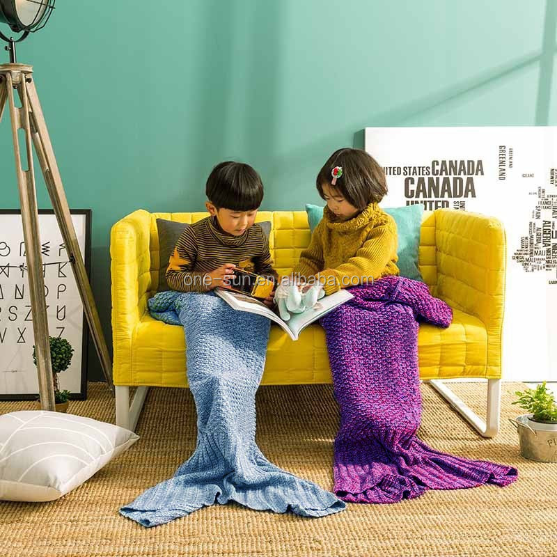 Children Mermaid Tail Blanket for Watching TV,soft and Wearable,keep <strong>u</strong> warm all winter,so soft and comfortable