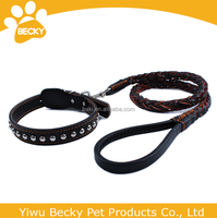 Fashion Braided Strong Leather Pet Dog Leash And Collar For Large Dog