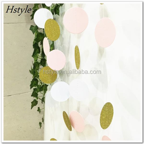 2017 New Products Gold Glitter Circle Paper Garland For Wedding Baby Room Kids Party Decoration S119