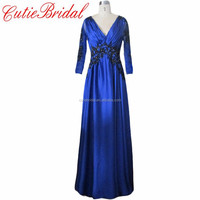 A-Line Long Chiffon Special Occasion Dress Long Sleeves Royal Blue Evening Dress With Black Applique
