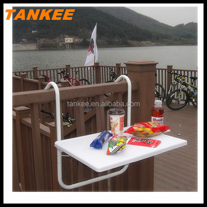 height adjustable plastic table top Outdoor Steel folding balcony hanging table