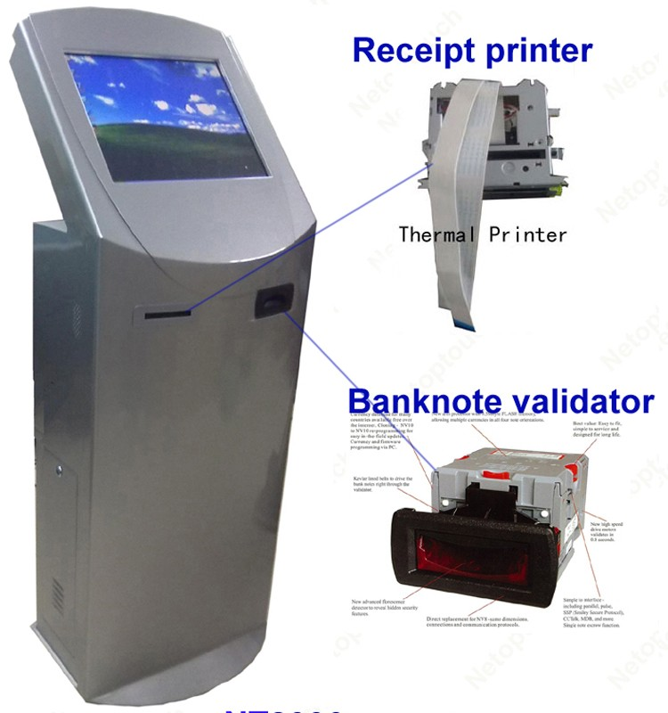 Touch internet kiosk with banknote acceptor