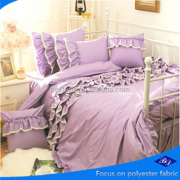 High Quality 100%polyester brushed peach skin micr/bed sheet fabric design/Violet bedding set