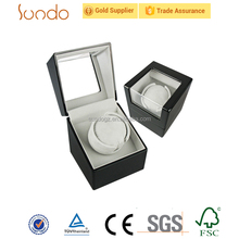 high quality glass top single watch winder wooden box