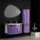 QIERAO 85cm Popular PVC Curved Bathroom Vanity Cabinets with Led Mirror P007A