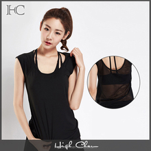 Factory stylish sexy mesh elastic dry breathable black loose fit yoga singlet t shirt wear girls transparent tank top
